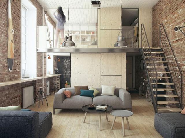 Tận dụng lợi thế trần nhà cao chủ nhà đã đưa góc nghỉ ngợi riêng tư lên gác xép nhường chỗ cho khu vực phòng khách, bếp và nhà tắm phía dưới. Nơi phòng khách khi cần cũng có thể biến thành khoảng không rộng rãi cho rất nhiều người.
