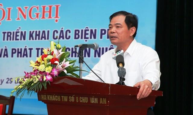 Bộ trưởng Nguyễn Xuân Cường chia sẻ tôi đã từng nuôi ngay ở hội nghị lần này trong bối cảnh ngành chăn nuôi heo có dấu hiệu bình phục. Ảnh: Đ. TRUNG