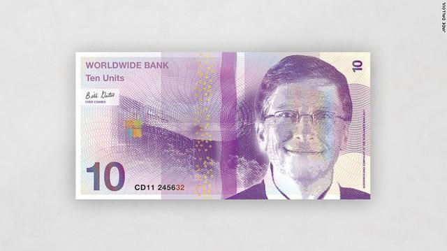 Hình ảnh người đàn ông giàu nhất địa cầu Bill Gates trên tờ 10 đơn vị.