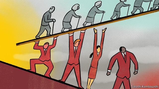 Dân số già khiến áp lực tái phân phối thu nhập từ người trẻ cho người già tăng lên Ảnh: The Economist.