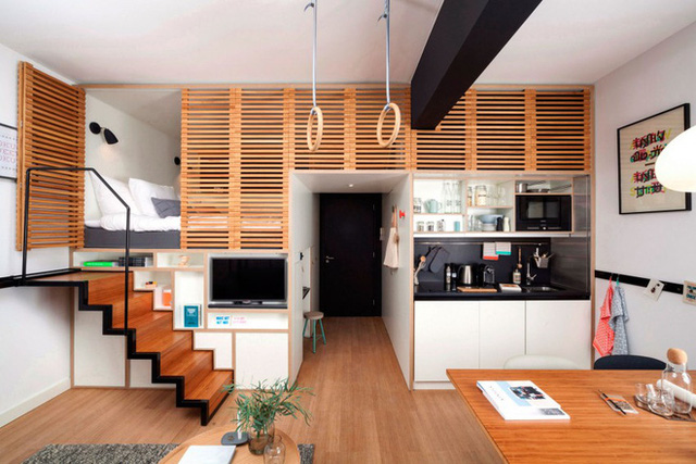 Chỉ với diện tích 24m2, nhưng căn hộ nhỏ này tích hợp đầy đủ các không gian chức năng, rộng thoáng và rất thoải mái cho người sử dụng.