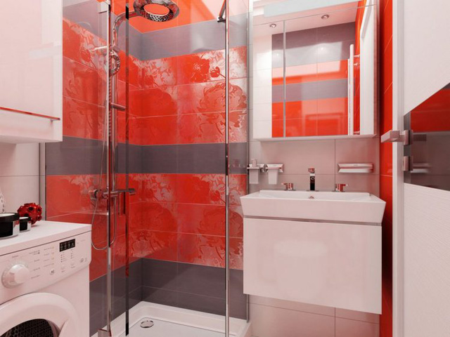 Nhà tắm đứng được tách biệt với bồn rửa và khu vệ sinh bằng một những tấm kính trong suốt.
