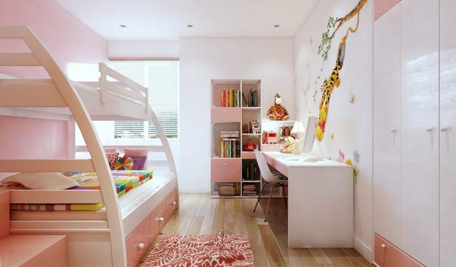 Căn phòng tuy nhỏ nhưng có đầy đủ bàn học, giá sách và giường tầng vô cùn tiện nghi cho bé.
