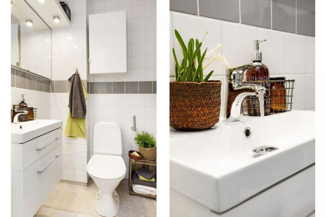 Phòng vệ sinh nhỏ nhưng ngăn nắp và sạch.