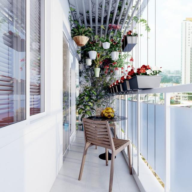 Ban công với đầy hoa mang đến không gian thư giãn tuyệt đẹp.