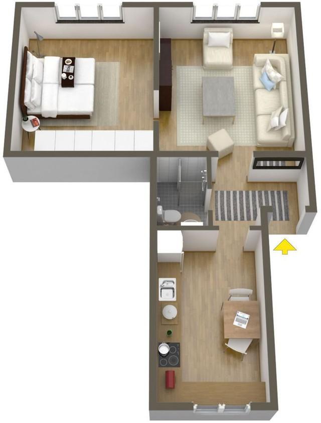Sơ đồ bố trí một vài khu vực công dụng của căn hộ cao tầng.