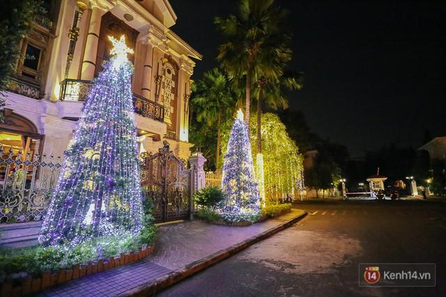 Cây thông bằng ánh sáng được dựng lên lung linh hai bên trước cổng nhà.
