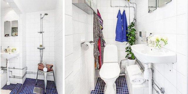 Khu vệ sinh nhỏ được sắp xếp rất gọn gàng, ngăn nắp.