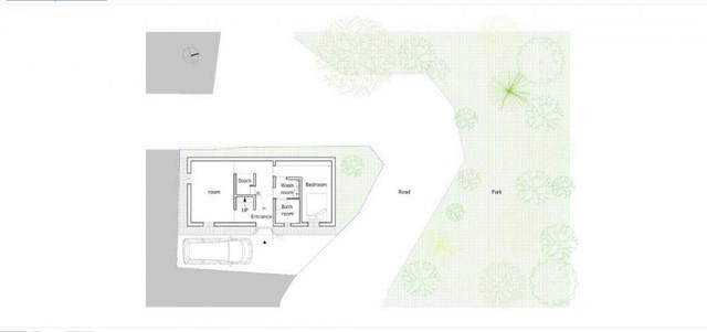 Sơn đồ bố trí các khu vực chức năng tầng 1 của ngôi nhà.