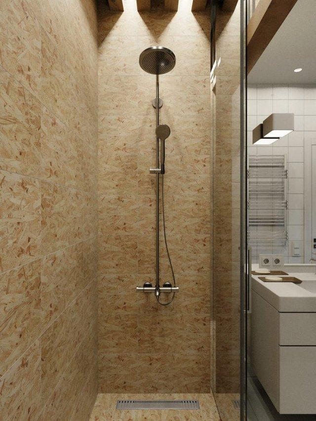 Phòng tắm được thiết kế tách biệt với khu vệ sinh nhờ cửa kính trượt.