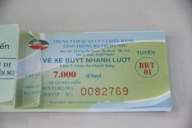 Vé buýt nhanh 1 tuyến giá 7.000 đồng