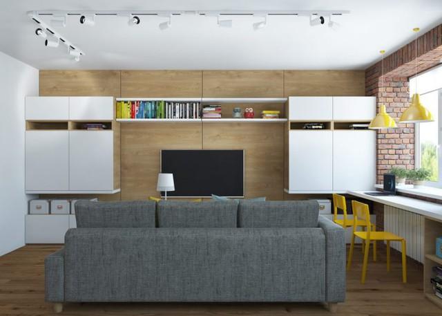Trên diện tích 65m2 căn hộ chung cư có đủ không gian công dụng thoáng sáng: Phòng khách, bếp, phòng ngủ, khu vực vệ sinh.