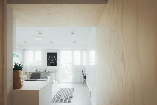 Do hạn chế về diện tích nên mọi không gian chức năng trong căn hộ này đều được bố trí mở hoàn toàn, không hề có một bức tường hay tấm vách ngăn nào khiến không gian vô cùng thoáng sáng.