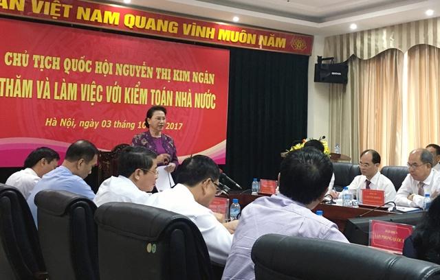 Chủ tịch QH Nguyễn Thị Kim Ngân làm việc với Kiểm toán Nhà nước