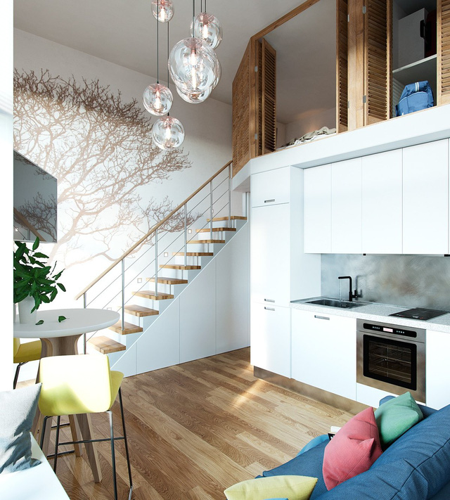Gác lửng xinh xắn nằm vắt ngang qua khu vực bếp và vệ sinh rất gọn gàng nhưng cũng rất hợp lý và tiết kiệm chi phí.