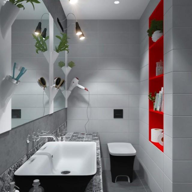 Nếu như phòng khách, phòng ngủ và bếp được tô điểm bởi tông vàng chanh tươi sáng thì ngược lại nhà tắm lại được lôi kéo bởi màu đỏ tươi.