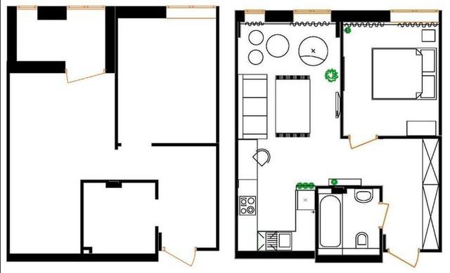 Sơ đồ bố trí trọn vẹn không gian căn hộ cao tầng.