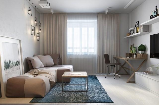 Diện tích tuy nhỏ nhưng mọi không gian được bố trí vô cộng linh hoạt. Nơi đẹp nhất và thoáng sáng nhất trong nhà được ưu tiên cho góc tiếp khách.