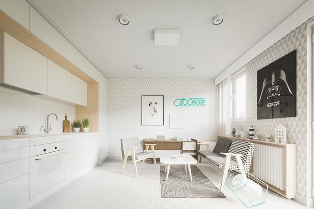 Góc tiếp khách của chủ nhà được thiết kế đơn giản với bộ bàn ghế có chân tạo cảm giác thông thoáng cho căn hộ. Phía đối diện là khu vực bếp ăn nhỏ xinh, gọn gàng với hệ tủ kệ khép kín.