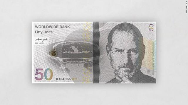 Cha đẻ iPhone Steve Jobs trên tờ 50 đơn vị.