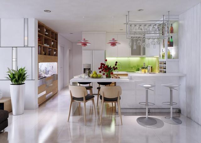 Ngay cạnh phòng khách là khu vực bếp và bàn ăn được bài trí tuyệt đẹp với nhiều màu sắc.