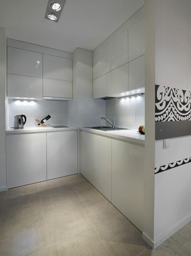 Vì hạn chế về diện tích nên bếp khu bếp ăn được thiết kế nhỏ gọn.