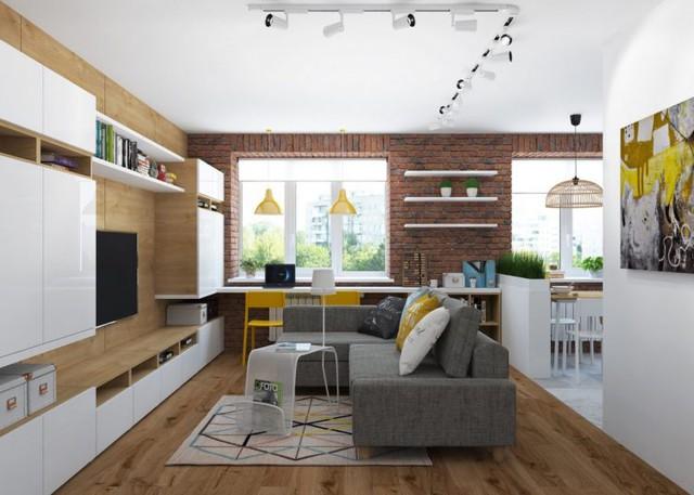 Phòng khách và bếp được bố trí chung 1 không gian mở thoáng rộng.