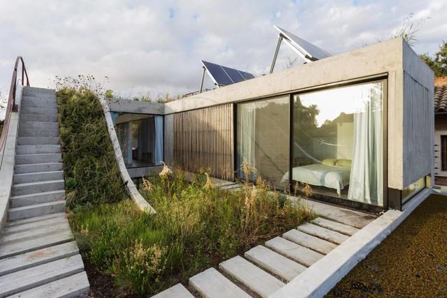 Lối đi được thiết kế tuyệt đẹp dọc theo khu vườn từ tầng 1 dẫn lên mái.