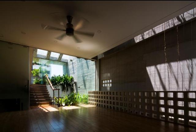 Mặc dù là nhà ống nhưng toàn bộ các khu vực chức năng trong nhà chỗ nào cũng xuất hiện cây xanh và tràn ngập ánh sáng mặt trời.