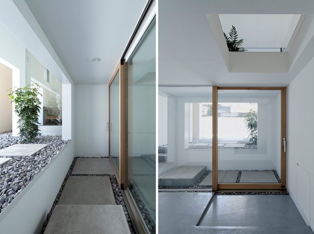 Không gian bên trong rộng thoáng nhờ cửa kính trượt lớn đặt ngay trước lối vào nhà.