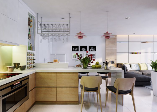 Sự kết hợp tuyệt vời giữa màu hồng của hai chiếc đèn lạ mắt, màu xanh của gạch ốp tường nơi góc bếp và màu tự nhiên của hoa, quả trên bàn ăn giúp không gian bếp thêm sang trọng, lịch lãm, tạo cảm hứng bất tận cho người nội trợ.