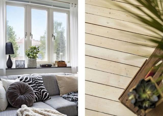 Có lẽ bộ sofa sẽ không phát triển thành lôi kéo nếu không có sự trợ giúp của một vài họa tiết trang trí bắt mắt của gối tựa, sàn gỗ và cây xanh.