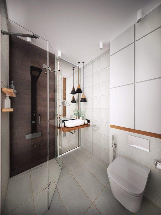 Nhà tắm tuy hơi nhỏ nhưng được thiết kế tiện nghi. Mọi món nội thất trong không gian này đều rất hiện đại và sang trọng.