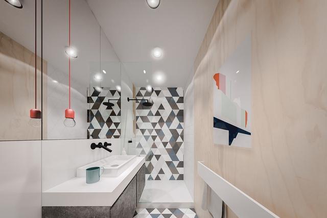 Nhà tắm nhỏ nhưng dài với nội thất vô cùng tiện dụng.