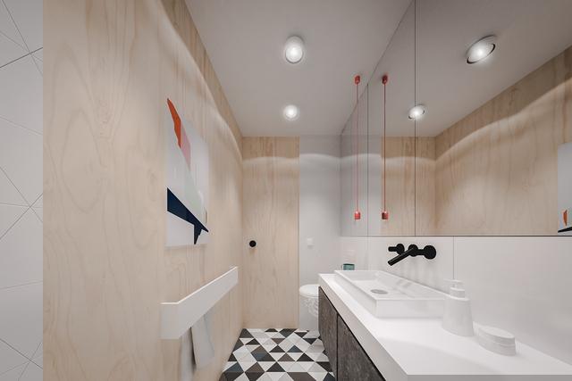 Nơi đây còn được trang bị một chiếc gương lớn chạy dọc bức tường giúp nhân đôi diện tích cho khu nhà tắm.
