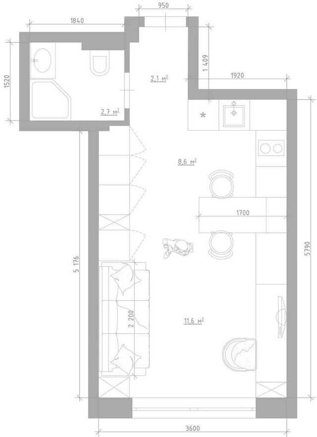 Sơ đồ bố trí toàn bộ không gian căn hộ 25m2.
