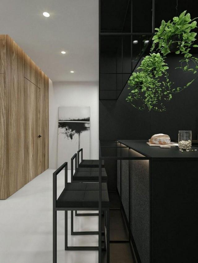 Góc bếp ăn còn được nhấn nhá bởi các giỏ cây dây leo tuyệt đẹp nổi trội trên nền đen.