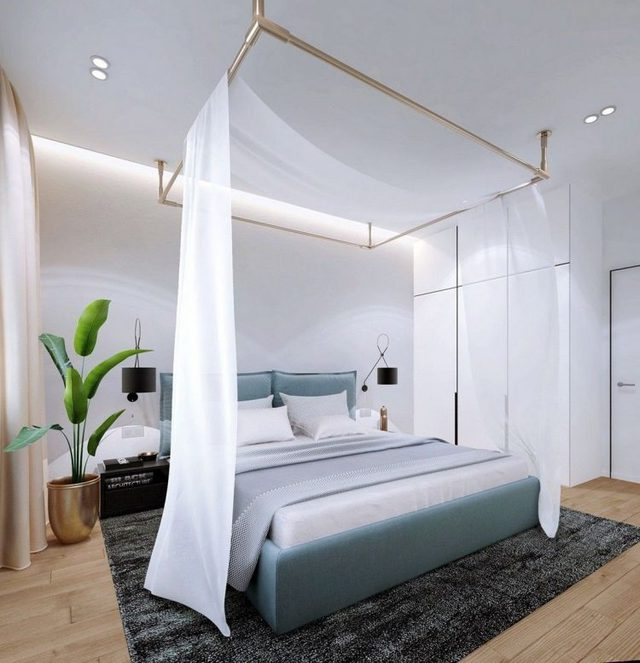 Mặc dù được sử dụng phần lớn tông màu trắng nhưng không gian nghỉ ngơi không hề cảm thấy lạnh nhờ sự kết hợp hài hòa tông màu ấm từ gỗ và rèm cửa.