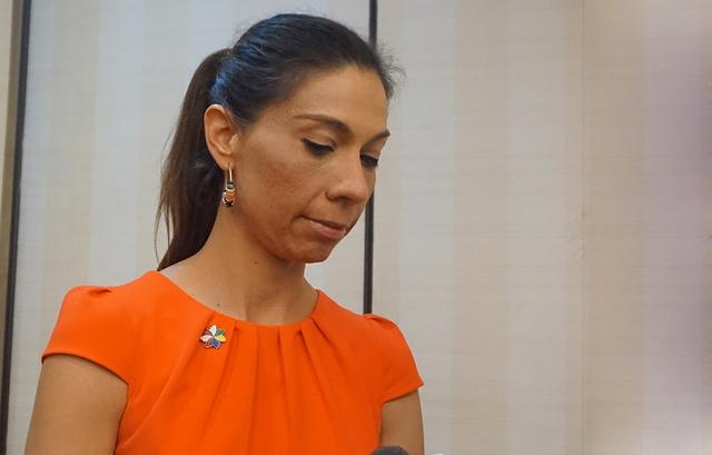 Trưởng đoàn APEC Chile Krasna Bobenrieth trả lời phỏng vấn trong giờ giải lao Hội thảo về FTAAP. Ảnh: Linh Anh
