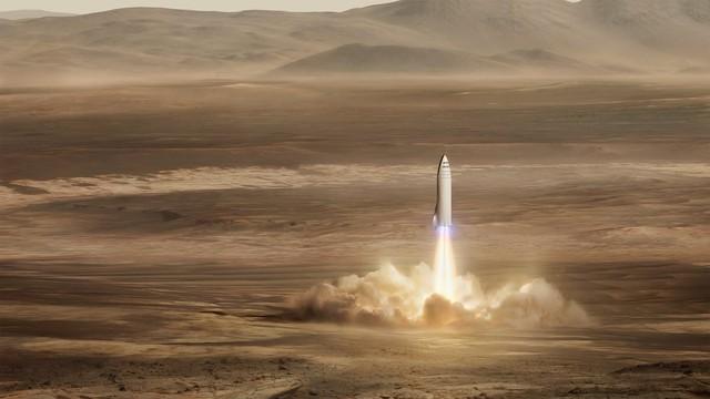 Mô phỏng tàu vũ trụ của BFR hạ cánh.