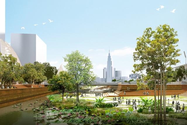 Một góc phối cảnh của khu công viên, quảng trường sắp được xây dựng tại bờ sông Sài Gòn thuộc bán đảo Thủ Thiêm.
