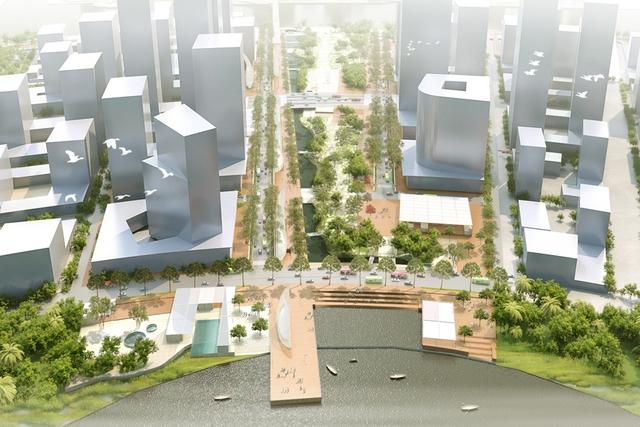 Đây là một không gian công cộng rộng lớn có cao trình từ 1,5 đến 2m với hệ sinh thái tự nhiên đa dạng. Đây cũng sẽ là Công viên Bách thảo tương lai của thành phố, có thể được chia thành nhiều đoạn với các dải thực vật khác nhau trên suốt chiều dài của công viên bờ sông.