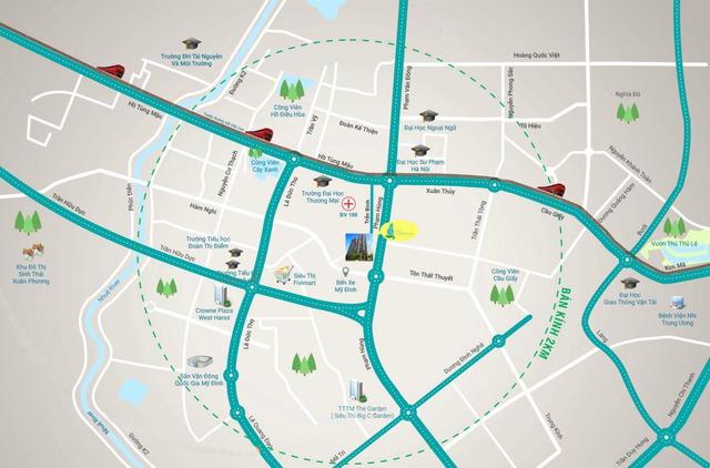 Vị trí dự án nằm ngay gần bến xe Mỹ Đình.