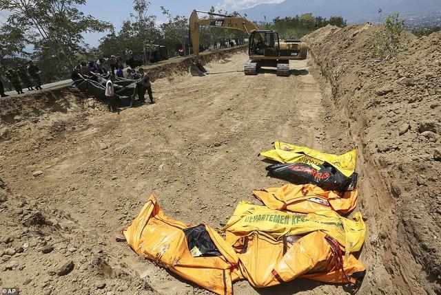 Thảm cảnh máy xúc đào mồ chôn tập thể cho các nạn nhân động đất, sóng thần Indonesia - Ảnh 1.