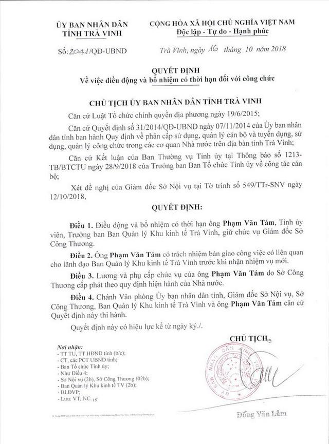 Tỉnh ủy Trà Vinh nói về việc bổ nhiệm ông Phạm Văn Tám làm Giám đốc Sở - Ảnh 1.