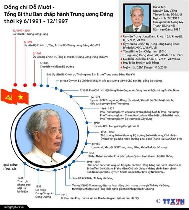Quá trình công tác của nguyên Tổng Bí thư Đỗ Mười - Ảnh 1.