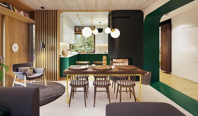 Tạo điểm nhấn ấn tượng cho ngôi nhà có màu xanh lá cây - Ảnh 4.