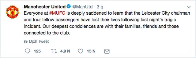 Truyền thông thế giới và nhiều đội bóng đau buồn khi chính thức nghe tin Chủ tịch Vichai qua đời - Ảnh 2.
