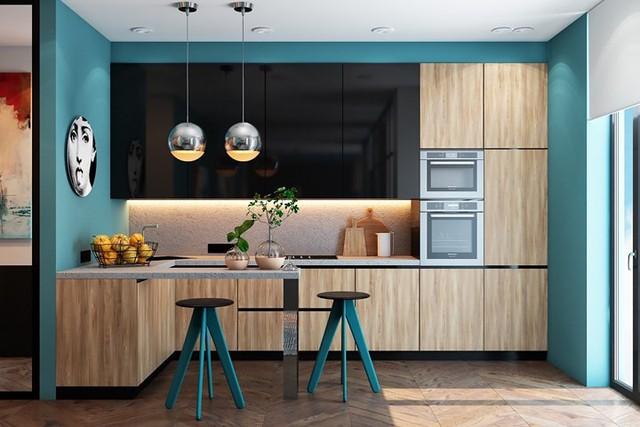 Ngắm phòng bếp được kiến trúc lung linh có màu xanh dương - Ảnh 1.