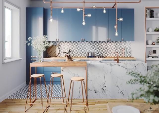 Ngắm phòng bếp được kiến trúc lung linh có màu xanh dương - Ảnh 2.